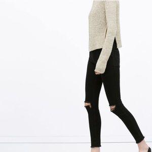Zara high waisted slit knee skinny jeans size 6